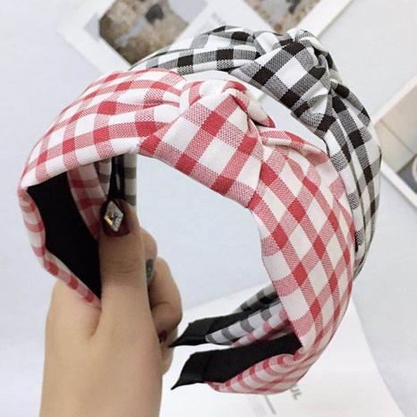 New Fashion geknotetes kariertes Stirnband NHWB327741's discount tags