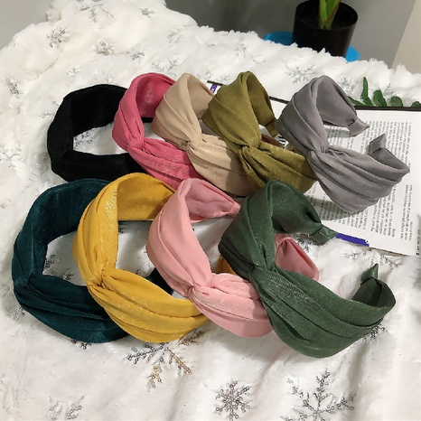 Korean fashion solid color cross-knotted headband NHWB327758's discount tags
