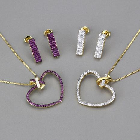 Mode eingelegtes Zirkonium herzförmiges Halsketten-Set NHBP327807's discount tags