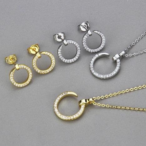 runde nachgeahmte nagel halskette ohrringe set NHBP327809's discount tags
