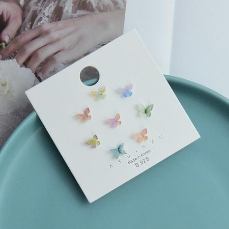 Korean color butterfly shape acrylic earrings set NHSD327816's discount tags