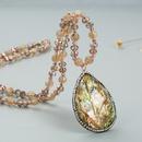 fashion crystal natural stone pendant necklace NHLN327821