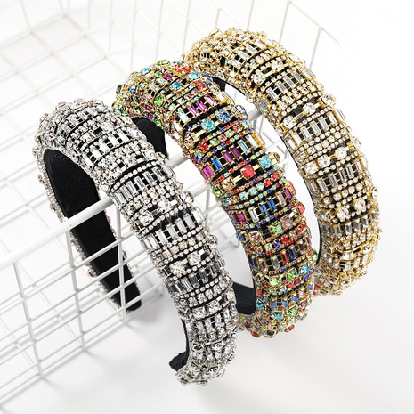 New Fashion Strass gestreiftes geometrisches Stirnband NHJE327827's discount tags