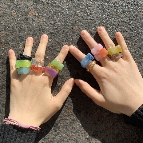 Retro candy color acrylic ring wholesale NHJQ327863's discount tags