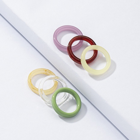 fashion resin ring 6 set wholesale NHGU327966's discount tags