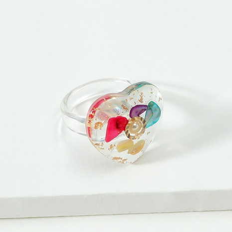 Fashion Transparent Resin Heart-Shape Ring Wholesale NHLU327990's discount tags