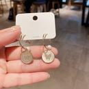 Korean butterfly zircon microinlaid white pearl shell earrings NHCG328039