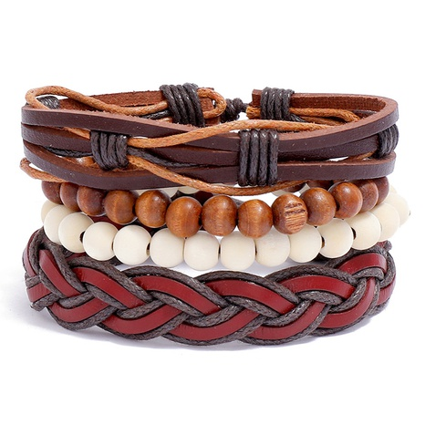Simple woven leather bracelet  NHPK328094's discount tags
