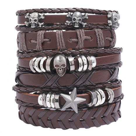 retro braided leather bracelet set NHPK328095's discount tags