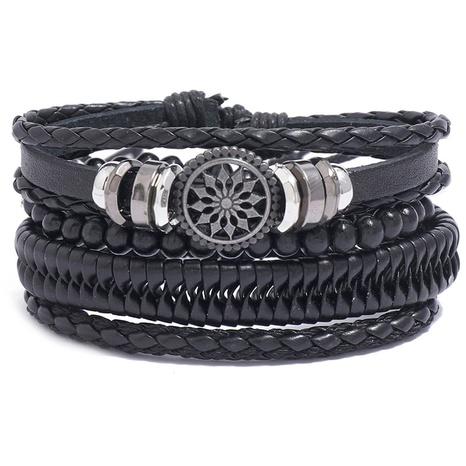 retro woven leather bracelet set wholesale NHPK328091's discount tags