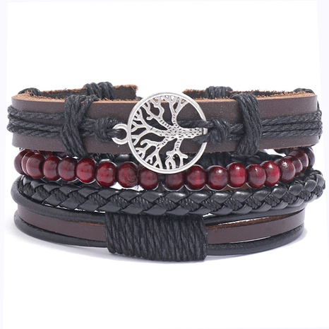 fashion happy tree braided leather bracelet   NHPK328096's discount tags