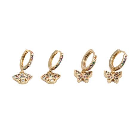 Pendientes de mariposa de circonita de color de moda NHYL328130's discount tags