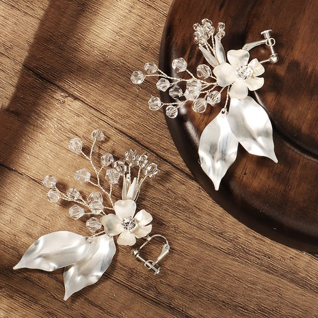Korean handmade beaded metal leaf earrings  NHHS328155's discount tags