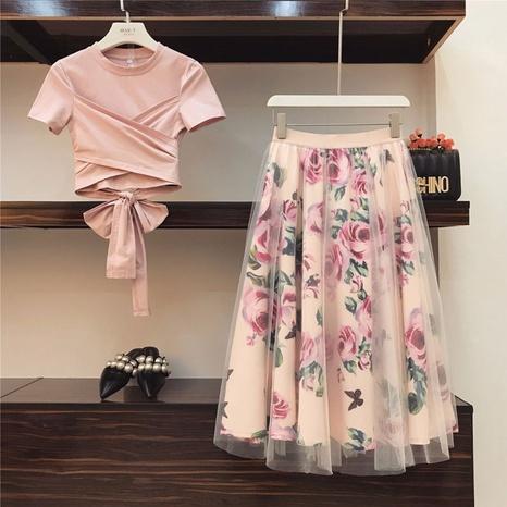Blouse sexy taille haute d'été tailleur jupe imprimée en maille mi-longue NHKO328272's discount tags