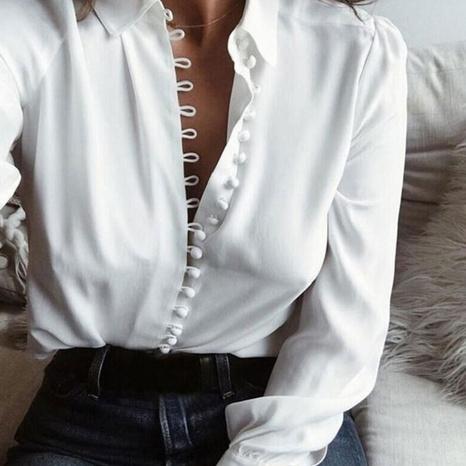 Blusa de manga larga suelta blanca con cuello de solapa NHJC328271's discount tags