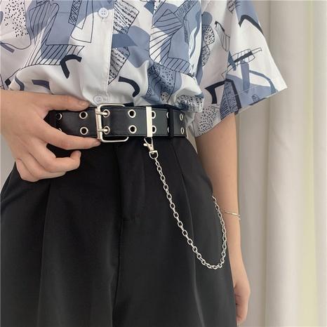 cinturón ancho estilo punk con doble botonadura NHWP328369's discount tags