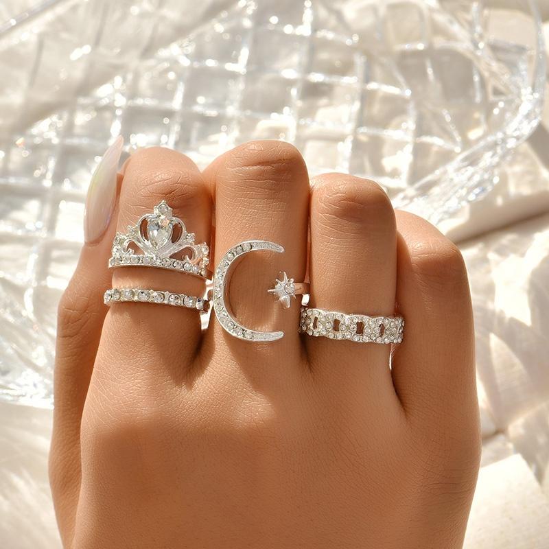new fashion star diamond yellow crown ring set NHAJ329098