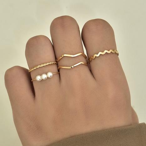 Mode koreanische neue Perle Ring Set NHAJ329097's discount tags