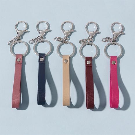 llavero simple de cuero de color sólido NHAP328494's discount tags