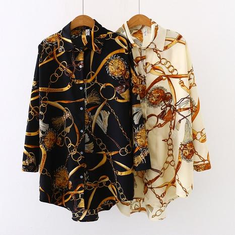 Nouveau chemisier long à manches longues en mousseline de soie NHIS329079's discount tags