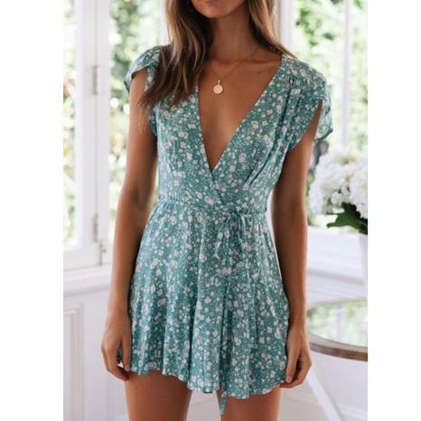 Vestido foral estampado de manga corta con cuello en V profundo de verano NHJG328890's discount tags