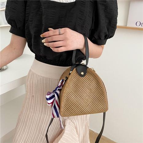 Korean woven messenger shoulder silk scarf bag NHTG328722's discount tags
