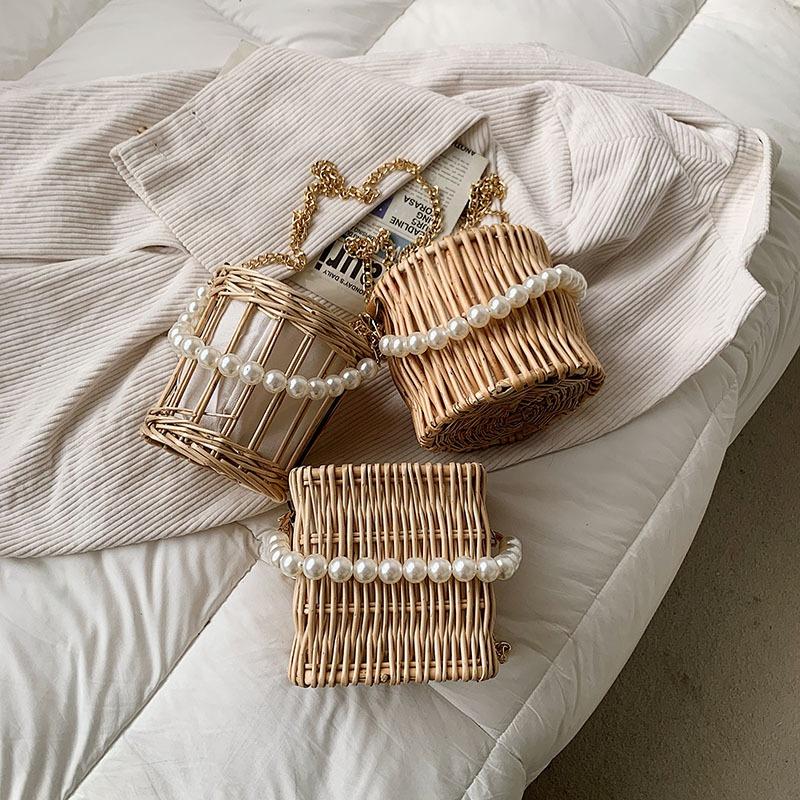 simple pearl portable straw bag wholesale NHTG328753