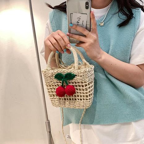 Korean shoulder messenger woven bag NHWH328863's discount tags