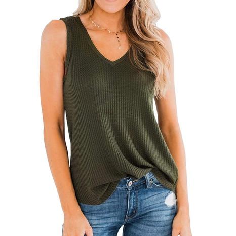Blouse coupe slim à col en V d'été pour femme NHJG328873's discount tags