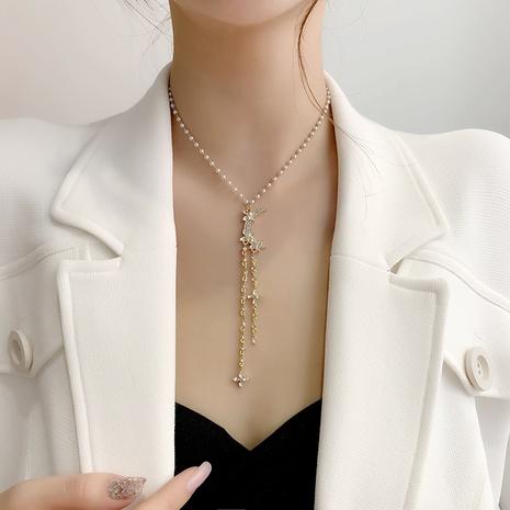 Retro Strass Sterne Stern Mond Perle Quaste Halskette Ohrringe Set NHMS329148's discount tags