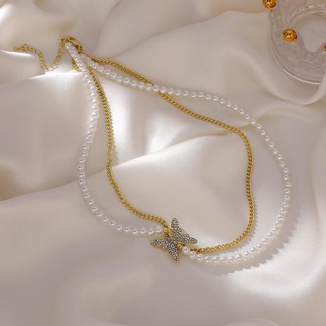 Collar de mariposa de diamantes de imitación de cadena de perlas de doble capa coreana NHMS329159's discount tags