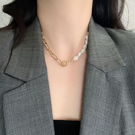 Koreanische Edelstahl dicke Kette Perle kurze Halskette NHYQ329181's discount tags