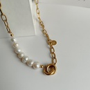 Korean stainless steel thick chain pearl short necklace NHYQ329181