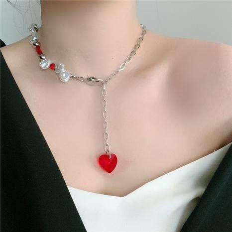 Retro Herzkette aus Titanstahlperle in Herzform NHYQ329197's discount tags