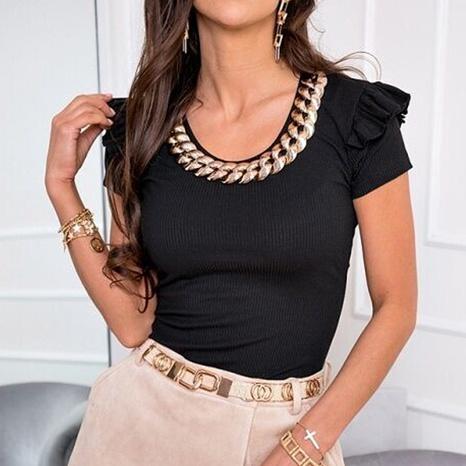 Blusa de hoja de loto de color sólido con cuello redondo de moda NHKO329622's discount tags