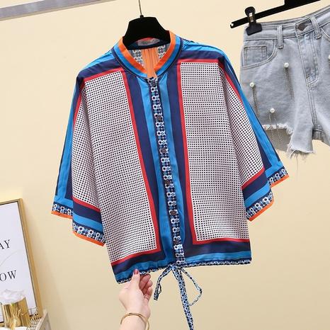 Blusa suelta de manga tres cuartos con estampado de cordón de moda para mujer NHKO329620's discount tags