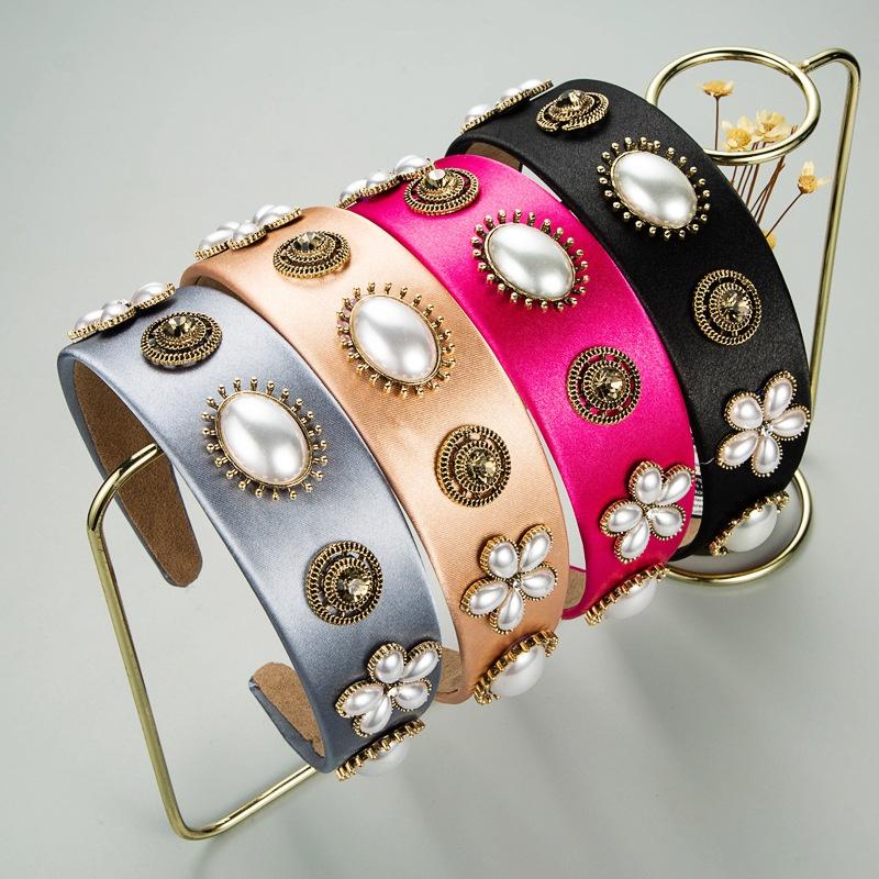 Korean fabric large pearl flower headband NHLN329227