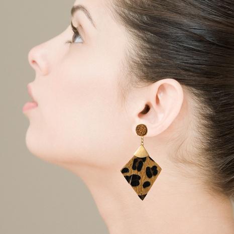 Pendientes de cristal de leopardo de cuero geométrico de moda NHLN329234's discount tags