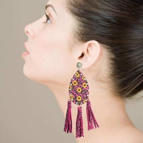 Pendientes de diamantes de imitación de borla larga con estampado de doble cara bohemio NHLN329237's discount tags