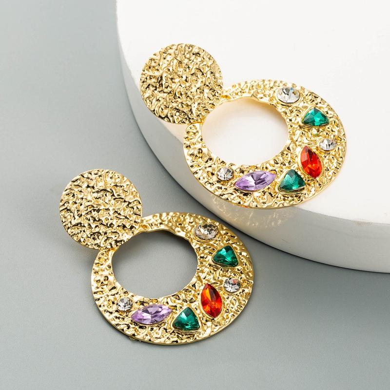 Boucles d39oreilles diamant mtal creux bohme NHLN329241