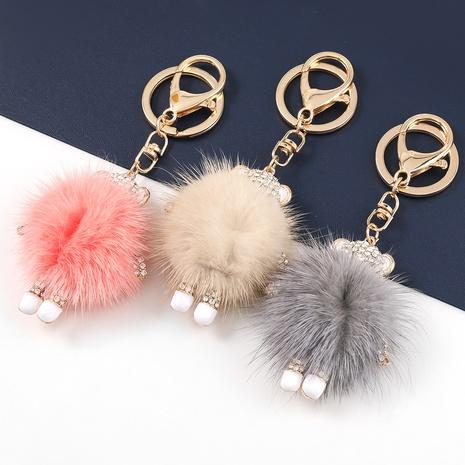 Korean alloy diamond-studded bear fur ball keychain NHJE329303's discount tags