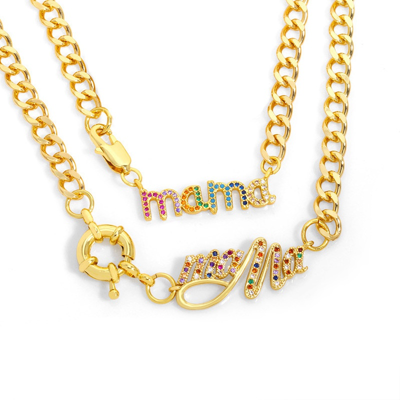 Mothers Day new simple Cuban mama chain necklace  NHAS329321