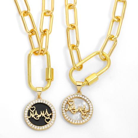 Hip-Hop Mode Brief Mama Abalone Diamant Halskette NHAS329322's discount tags