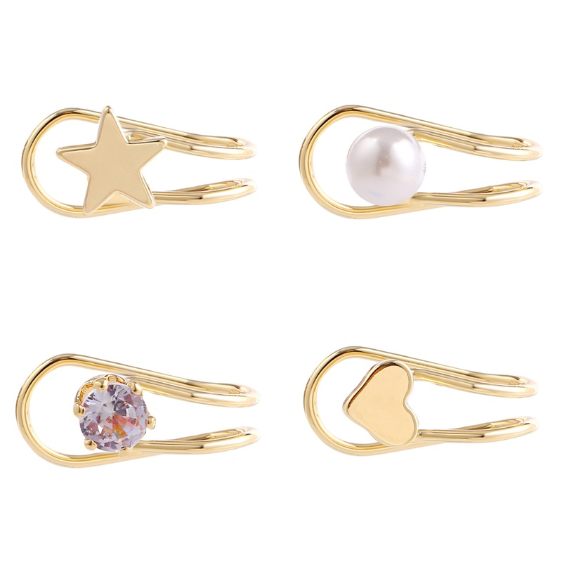 Retro geometric star heartshaped earrings NHJJ329334