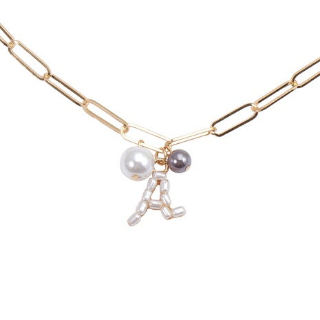 Korean Pearl Letter Necklace Wholesale NHJJ329330's discount tags