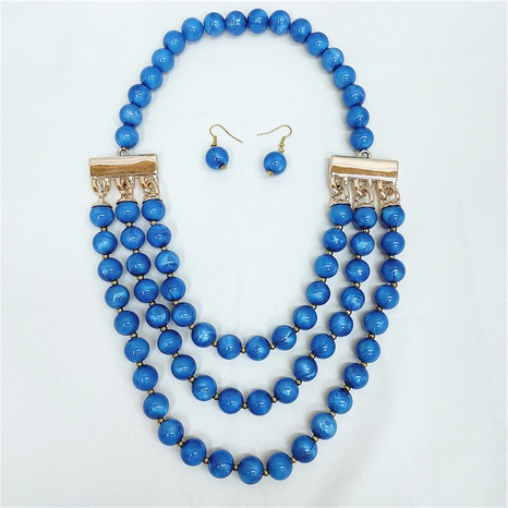 Retro Round Bead Necklace Earrings Set NHVA329372's discount tags