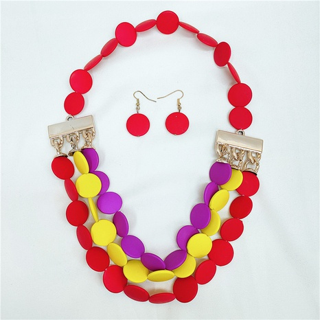 Simple round piece necklace earrings set NHVA329384's discount tags