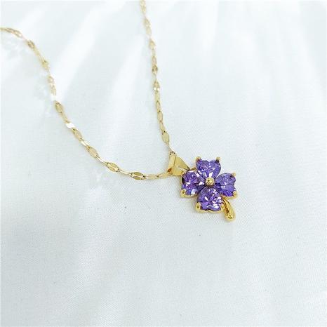 Korean purple four-leaf clover gold snake bone necklace NHVA329390's discount tags