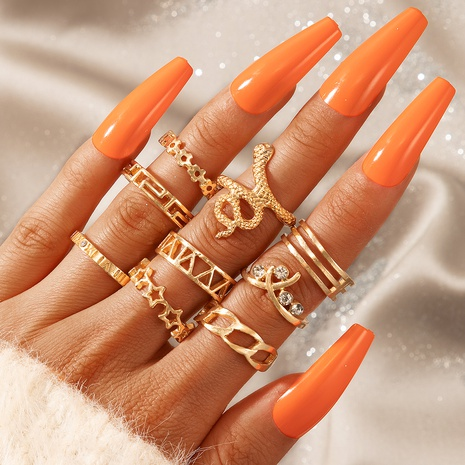 new fashion star five-pointed star carved 9-piece ring NHGY329604's discount tags