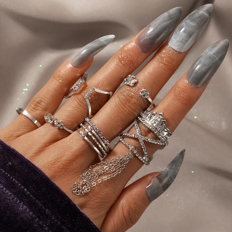 fashion exaggerated diamond tassel geometric ring set NHGY329602's discount tags